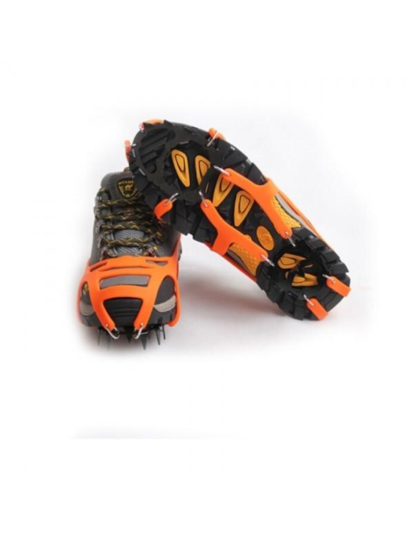 Mountaineering Hiking Crampons 18Teeth Outdoor Antislip Ice Shoe Spikes L orange