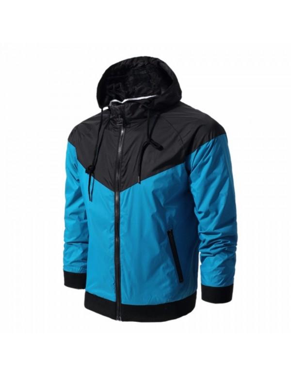 Hot Sale Fashiom Men Spring Autumn Hiphop Hooded Outdoor Waterproof Sport Jacket Windbreaker Coat Outerwear-